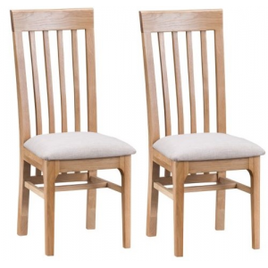 Bergen Oak Furniture Slat Back Chair Fabric Seat Pair