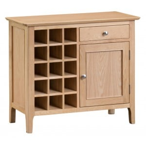 Bergen Oak Furniture Wine Cabinet