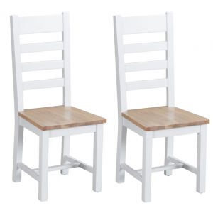 Tenby White Painted Furniture Ladder Back Chair Wooden Seat Pair