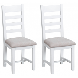 Tenby White Painted Furniture Ladder Back Chair Fabric Seat Pair