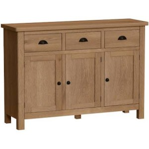 Buxton Rustic Oak Furniture 3 Door Sideboard