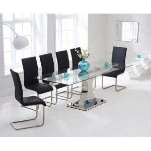 Amber Furniture 160cm Glass Extending Dining Table & Black Chairs