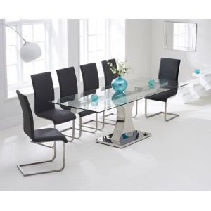 Amber Furniture 160cm Glass Extending Dining Table & Grey Chairs