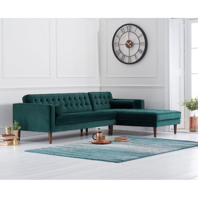 Idriana Furniture Green Velvet Right Facing Chaise Sofa
