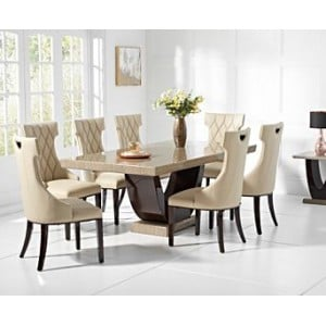 Mark Harris Rivilino Brown 200cm Marble Dining Table & Fredo Chairs