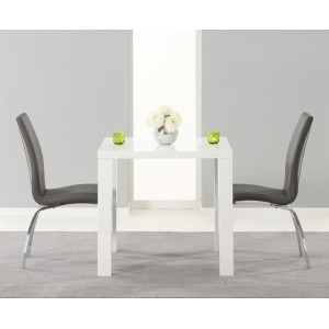 Ava High Gloss Furniture 80cm Dining Table & 2 Grey Carsen Chairs