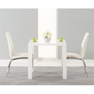 Ava High Gloss Furniture 80cm Dining Table & 2 White Carsen Chairs