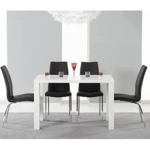 Ava 120cm High Gloss White Dining Table & 4 Black Carsen Chairs