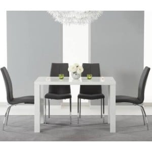 Ava 120cm High Gloss White Dining Table & 4 Grey Carsen Chairs