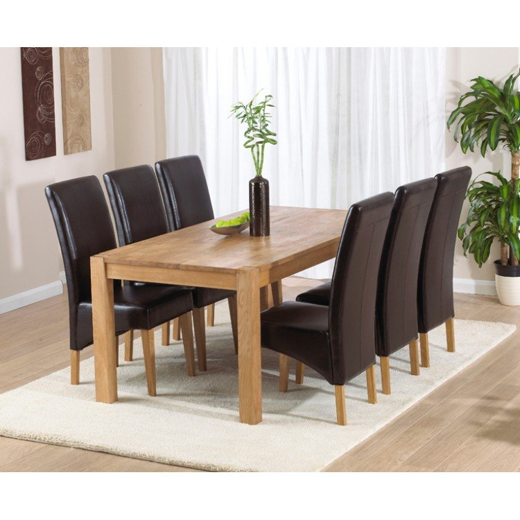 Verona Oak Dining Table 180cm & 6 Roma Chairs