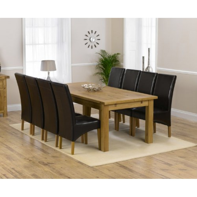 Rustique Solid Oak 220cm Extending Table & 10 Roma Chairs