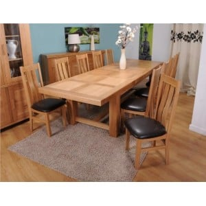 Bordeaux Oak Furniture Grand Table & Vermont Maria Chairs