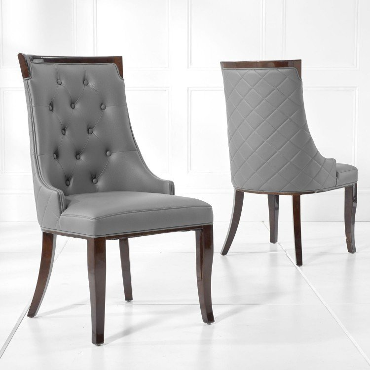Aviva Furniture Grey Faux Leather Dining Chair Pair