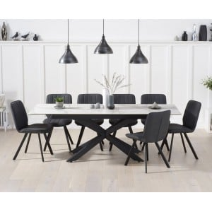 Britolli 180cm Ext White Ceramic Dining Table & Grey Chairs