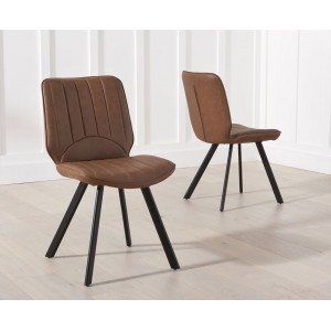 Damanti Furniture Brown Faux Leather Dining Chair Pair
