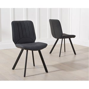 Damanti Furniture Grey Faux Leather Dining Chair Pair