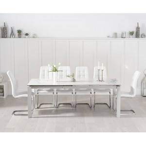 Violeta 140cm Ext White Spanish Ceramic Table & Lucy Chairs