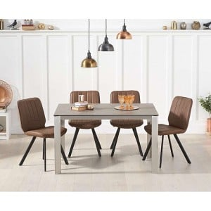 Alejandra 130cm Brown Italian Ceramic Dining Table & Damanti Chairs