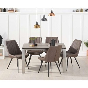 Alejandra 130cm Brown Italian Ceramic Dining Table & Moda Chairs