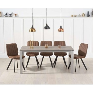 Alejandra 170cm Brown Italian Ceramic Table & Damanti Chairs