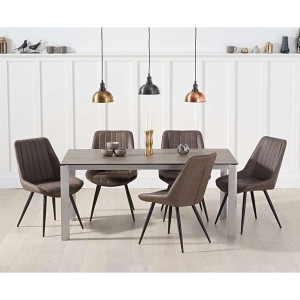 Alejandra 170cm Brown Italian Ceramic Table & Moda Chairs