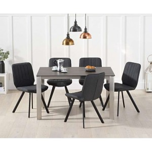 Alejandra 130cm Mink Spanish Ceramic Dining Table & Damanti Chairs