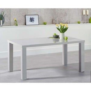 Ava High Gloss Furniture 160cm Light Grey Dining Table