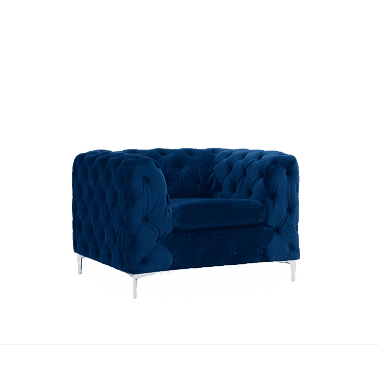 Alegra Furniture Blue Plush Fabric Armchair