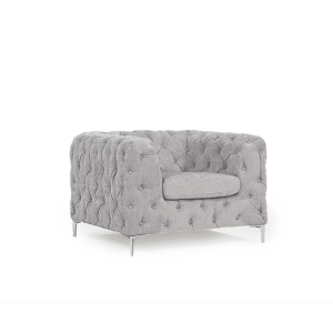 Alegra Furniture Grey Plush Fabric Armchair