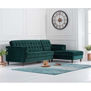 Anneliese Furniture Green Velvet Right Facing Chaise Sofa