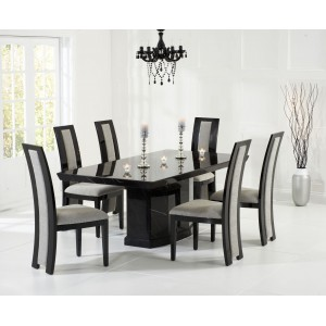 Mark Harris Como Black Marble Dining Table 160cm & Rivilino Set