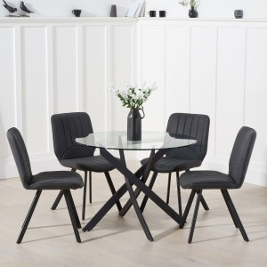 Mark Harris Marina Industrial Glass Dining Table 100cm & Damanti Set