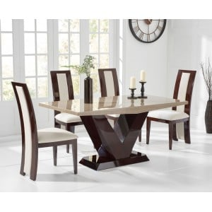 Mark Harris Valencie Furniture Brown Marble Table 160cm & Rivilino Set