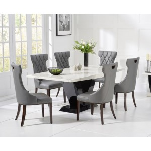 Mark Harris Valencie Furniture White Marble Table 160cm & Fredo Chairs
