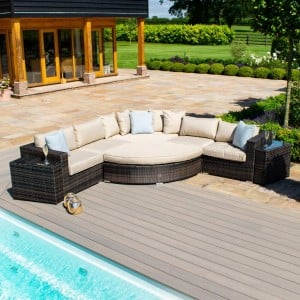 Maze Rattan Garden Furniture Deluxe Barcelona Brown Corner Group