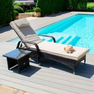 Maze Rattan Garden Furniture Florida Brown Sunlounger Set