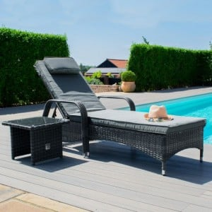 Maze Rattan Garden Furniture Florida Grey Sunlounger Set