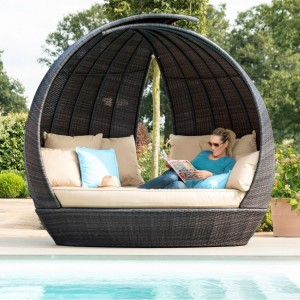 Maze Rattan Garden Furniture Brown Lotus Daybed