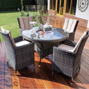 Maze Rattan Garden Furniture LA Brown 4 Seat Round Dining Set with Ice Bucket