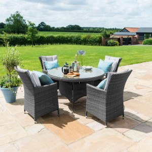 Maze Rattan Garden Furniture LA Grey 4 Seater Round Dining Table Set