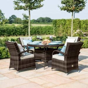 Maze Rattan Garden Furniture Texas Brown 4 Seater Round Table Set