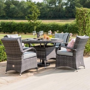 Maze Rattan Garden Furniture Texas Grey 4 Seater Round Dining Set
