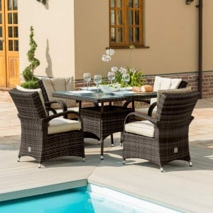 Maze Rattan Garden Furniture Texas Brown 4 Seater Square Table Set