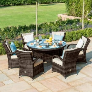 Maze Rattan Garden Furniture Texas Brown 6 Seater Round Dining Set