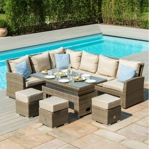 Maze Rattan Garden Furniture Tuscany Corner Sofa Set With Rising Table