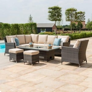 Maze Rattan Garden Furniture Venice Brown Corner Set With Rising Ice Bucket Table & Armchair