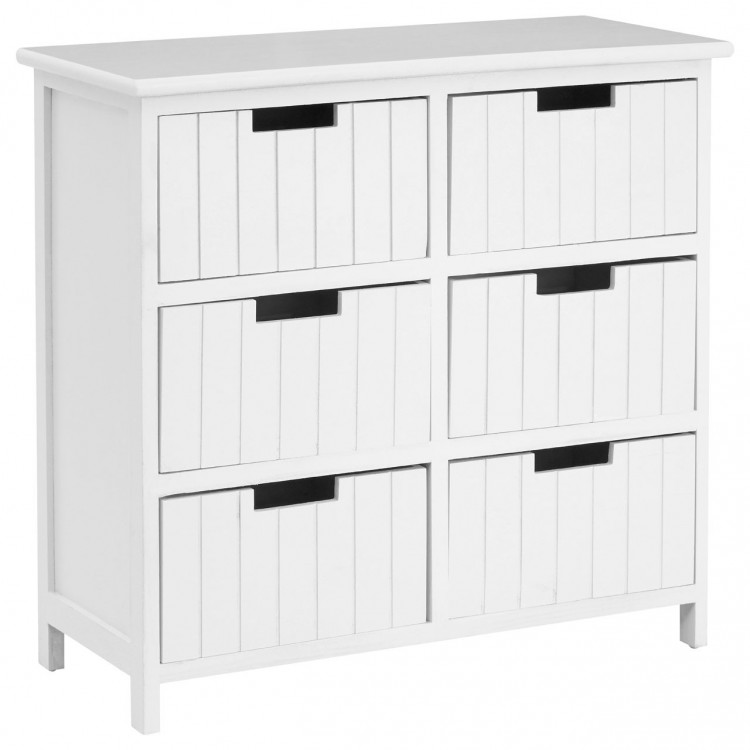 Coral Rustic White Painted Furniture 6 Drawer Storage Chest