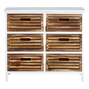 Coral Rustic White and Wood Furniture 6 Drawer Storage Chest