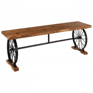 Mallani Bohemian Furniture Acacia & Iron Wheel Bench