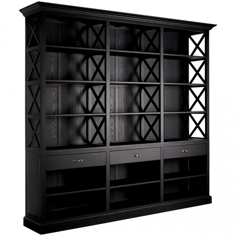 Premier Lyon Furniture 3 Drawer Black Library Bookcase